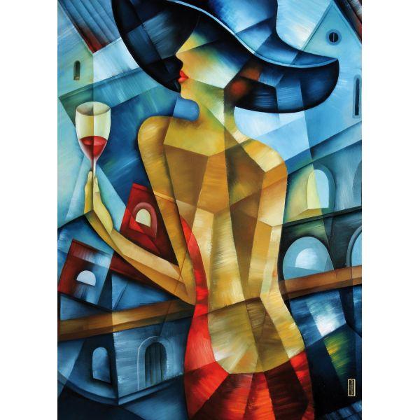 Quadro astratto moderno riproduzione su tela Woman At Bar