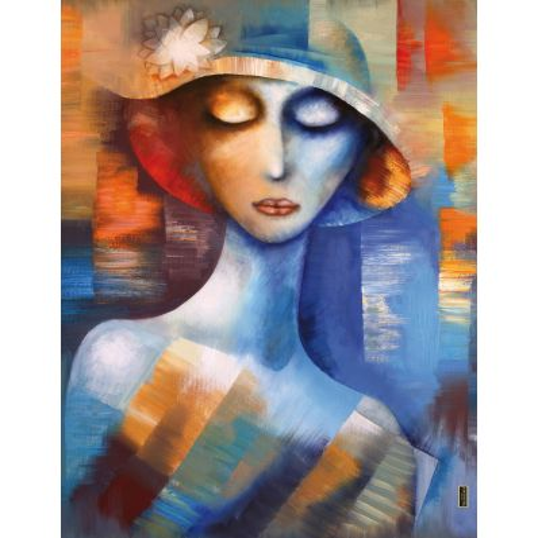 8f95766dae Stampa su tela design moderno per soggiorno Woman With Hat