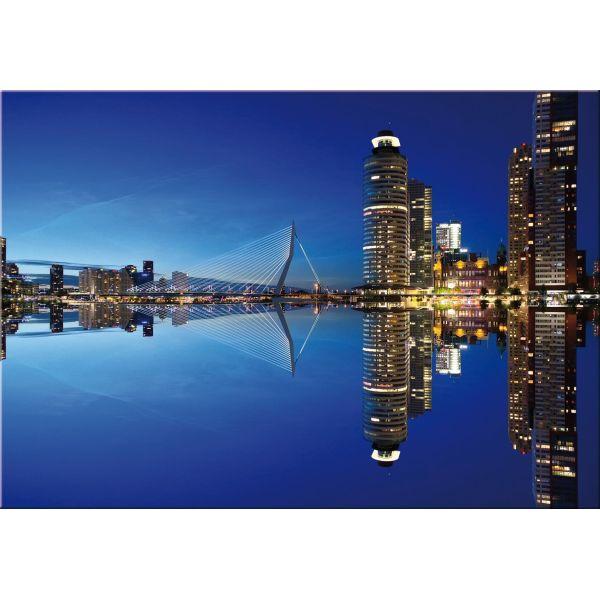 Quadro stampa su tela skyline 150x100 cm Rotterdam