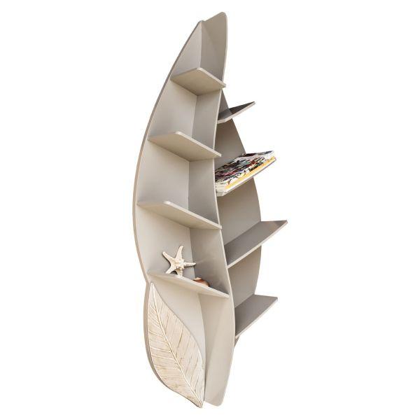 Libreria design da parete in legno a forma di foglia Blatt