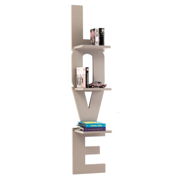 Libreria arredamento a muro in legno avorio o grigio Love