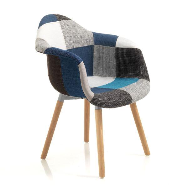 Coppia sedie patchwork in tessuto multicolor Temora