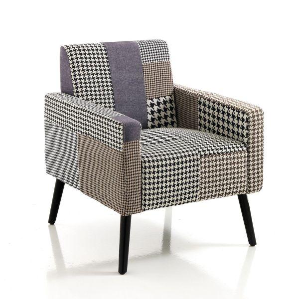 Poltrona patchwork per soggiorno camera in tessuto con gambe in legno massello Lorinda