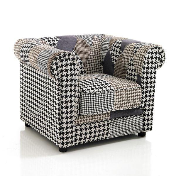 Poltrona patchwork design moderno per soggiorno o camera da letto Declan