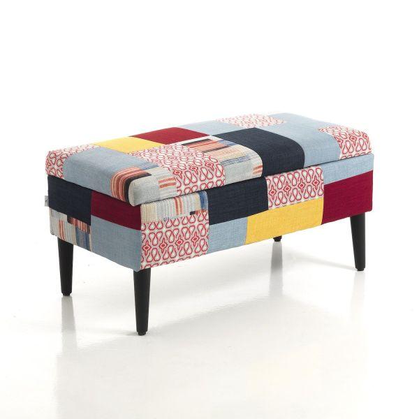 Panca contenitore moderna in tessuto patchwork per soggiorno o camera lettoBernice