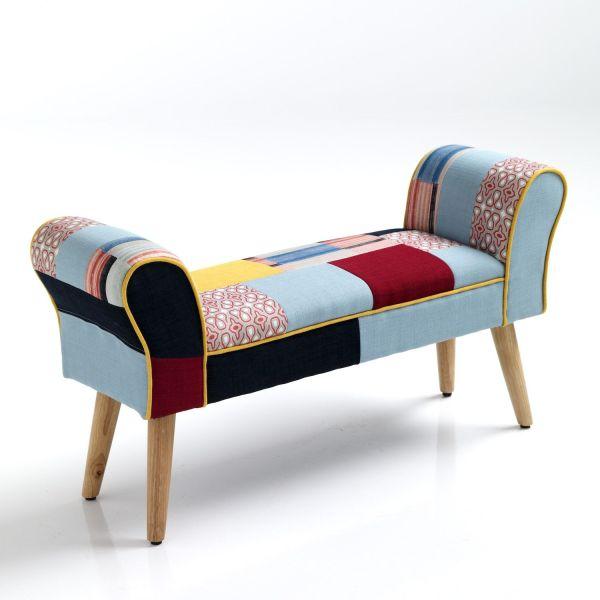 Panca imbottita in tessuto patchwork per camera letto Ballad