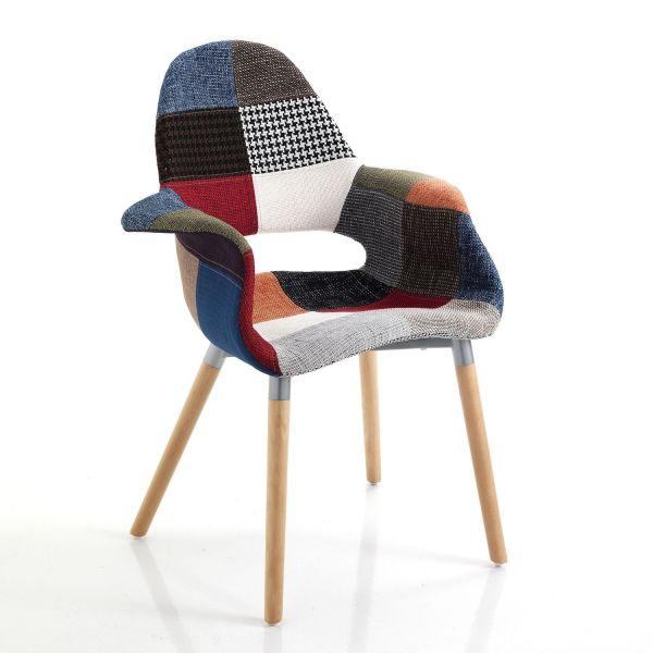 Poltroncina patchwork moderna in tessuto multicolore Treveur