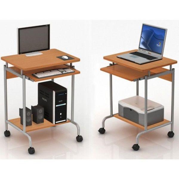 Scrivania porta PC e stampante salvaspazio su ruote Compact