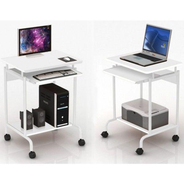 Scrivania porta PC bianca Compact 60 x 45 cm per casa piccola