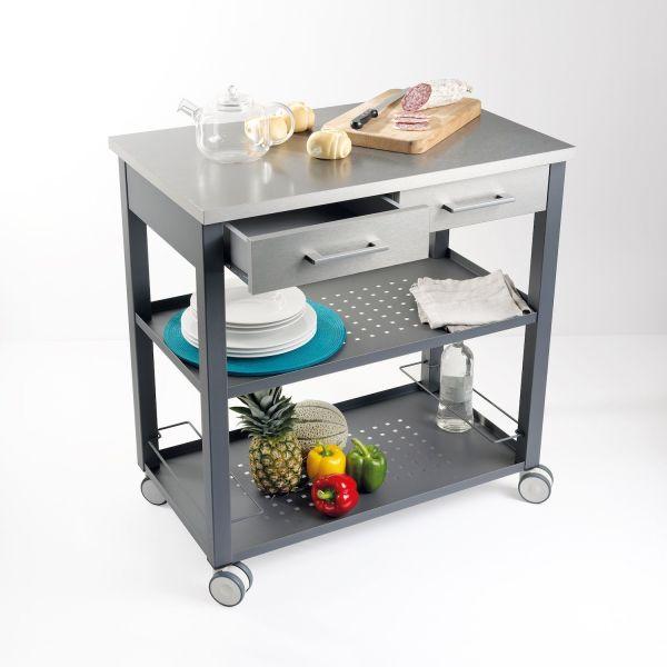Carrello da cucina di design su ruote in acciaio e laminato Chef