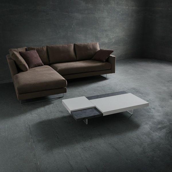 Tavolino design da salotto bicolor in legno laccato 120 x 70 cm Grigor