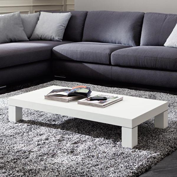 Tavolino rettangolare da salotto in legno bianco 110 x 55 cm Benicio | Tavolini da salotto