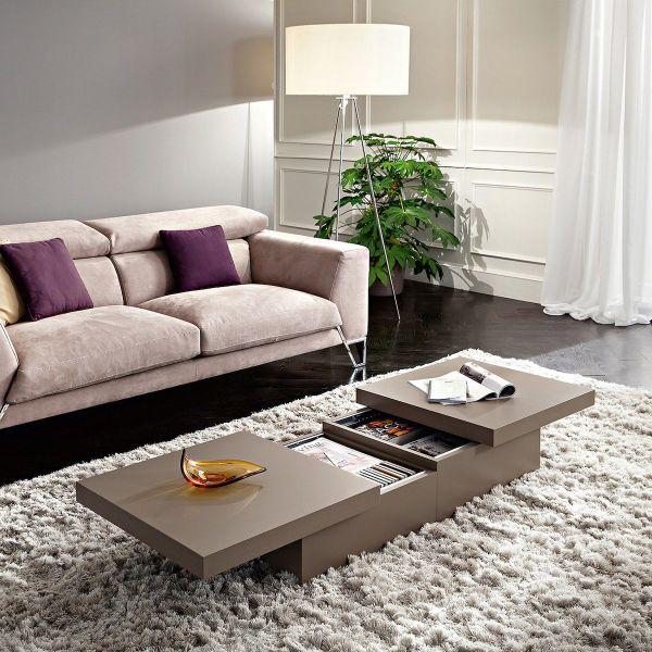 Tavolino contenitore per soggiorno in legno bianco opaco o tortora Melkior