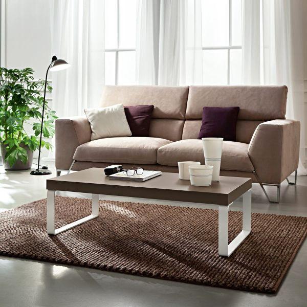 Tavolino da salotto in legno tortora e gambe in metallo bianco Evert