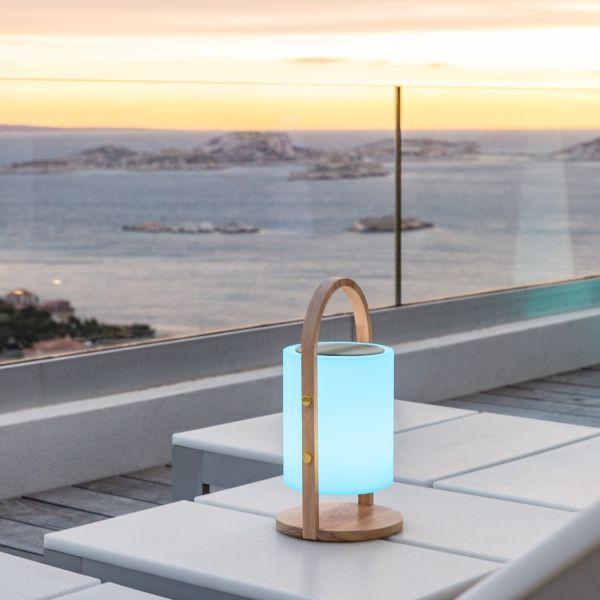 Lampada portatile a LED con altoparlante bluetooth Fiesta Wood
