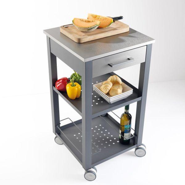 Carrello da cucina professionale in acciaio e legno New Chef