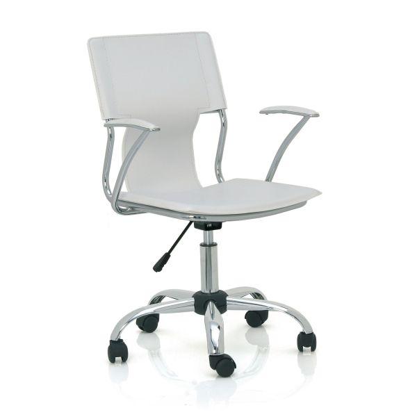 Sedia operativa ufficio con braccioli in ecopelle bianca nera rossa JLOG