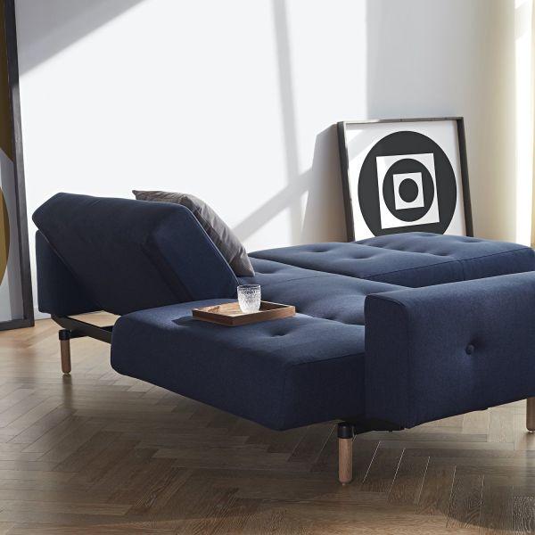 Ample divano letto comodo uso quotidiano con braccioli imbottiti - 528 Mixed Dance Blue