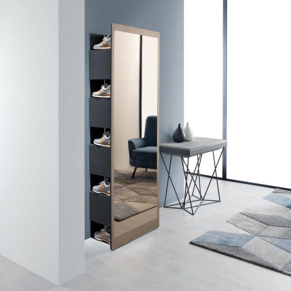 Specchio ad angolo con libreria e scarpiera Slide