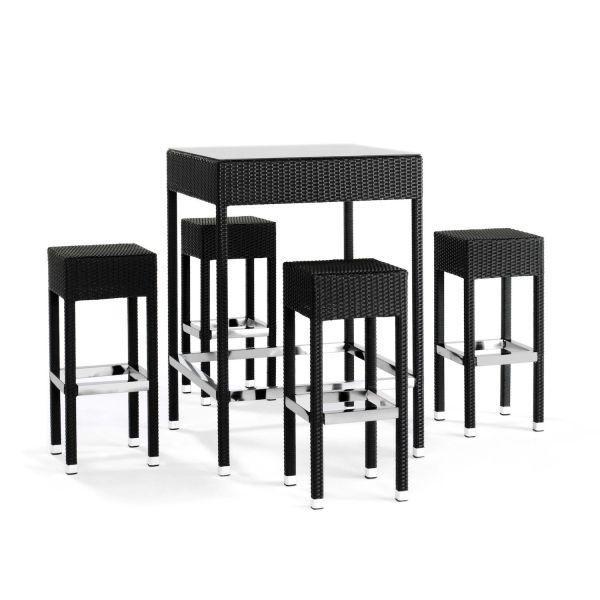 Set da giardino tavolo e 4 sgabelli in alluminio GoldDust