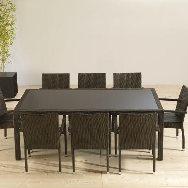 Tavolo da giardino in alluminio polietilene e vetro NewStar