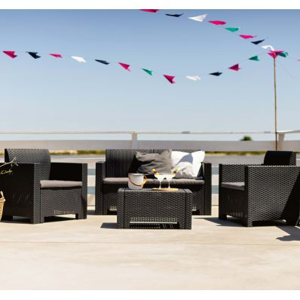 Salotto da giardino divano due poltrone e tavolino Teixeira