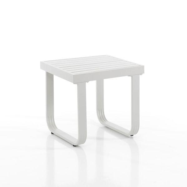 Tavolino alto da esterno in alluminio bianco Alacant