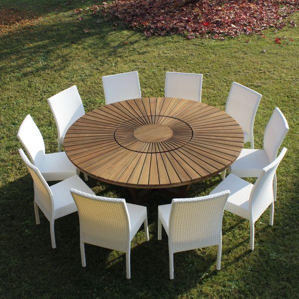 Tavolo da esterno rotondo in legno massello TeakOnMe