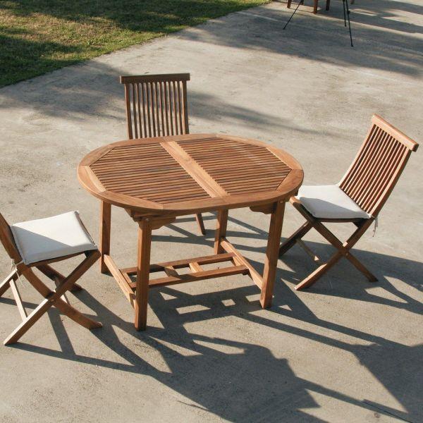 Tavolo da giardino rotondo allungabile in legno TeakOnMe