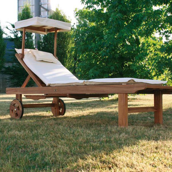 Lettino prendisole da giardino in legno massello TeakOnMe
