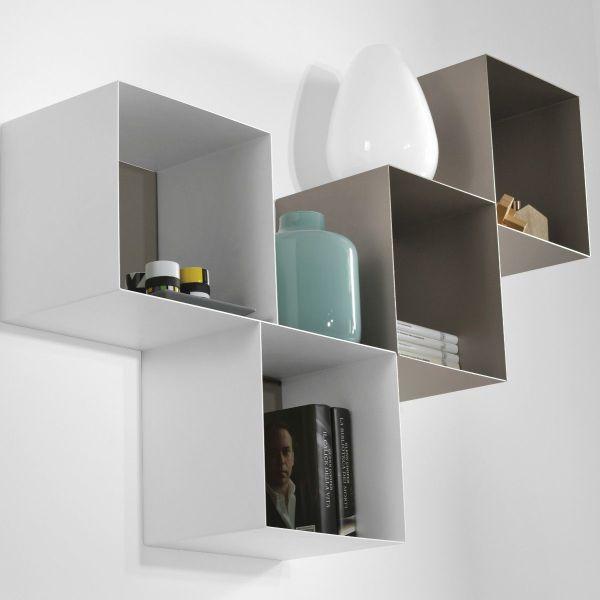 Cubi da parete componibili in acciaio Twin