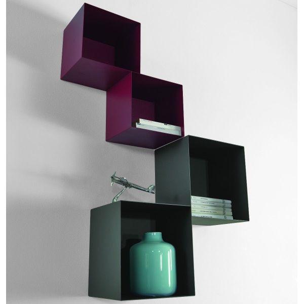 Mensole a cubo da parete componibili in acciaio Twin