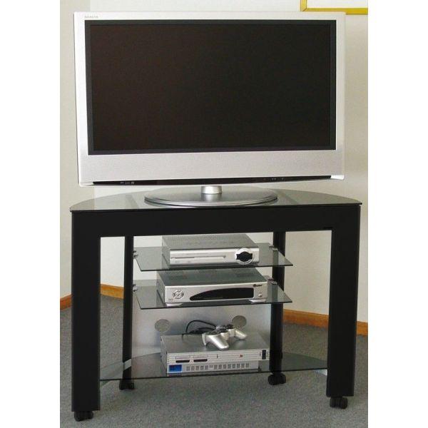 Carrello porta TV in alluminio e cristallo Clapton
