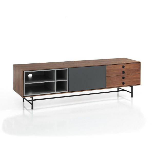 Mobile TV moderno in legno noce e grigio Scandy