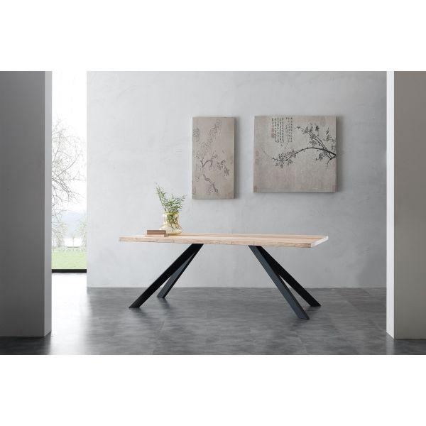 Learn Tavolo Da Cucina In Metallo E Legno Massello Design Moderno Ebay