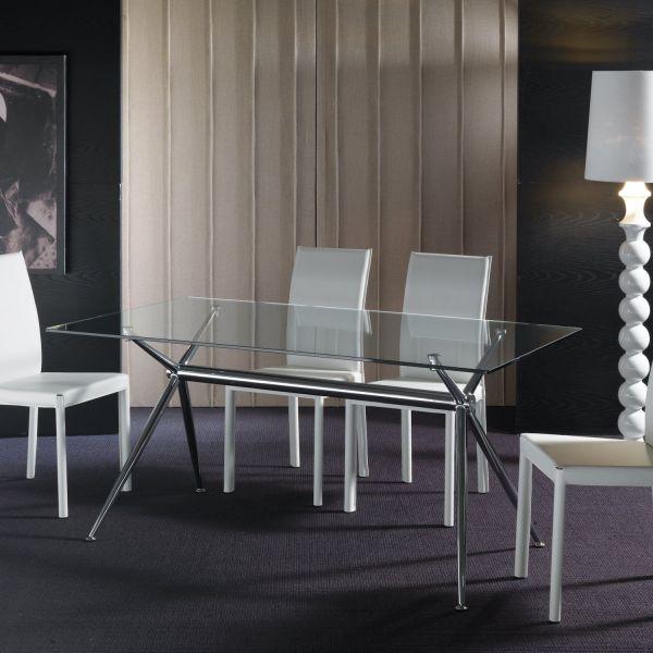 Tavolo scrivania in vetro trasparente e metallo cromato Glam