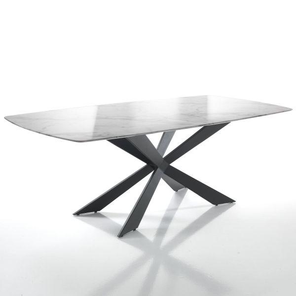 Tavolo rettangolare con piano effetto marmo Born