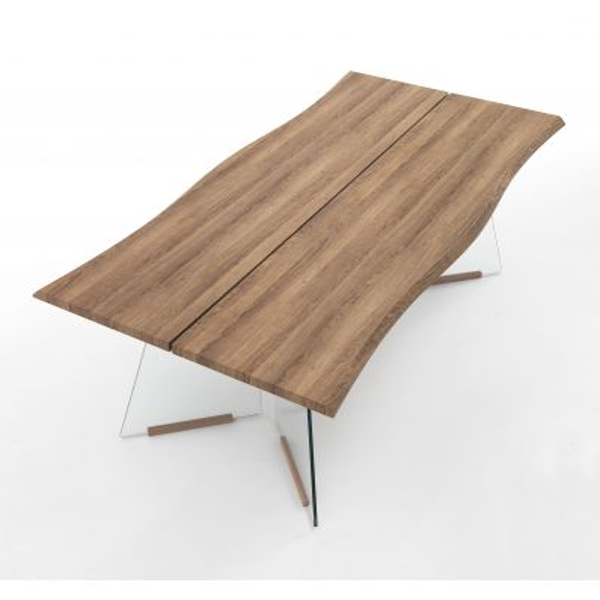 Tavolo scrivania in vetro e legno rovere Talking