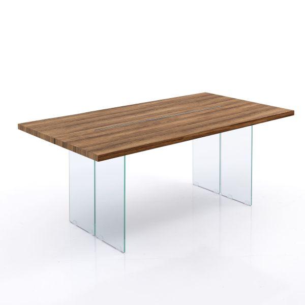 Tavolo scrivania in vetro rovere 180 cm Restyle