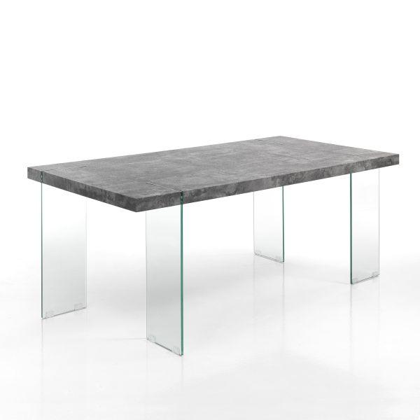 Tavolo da cucina in vetro e MDF cemento Inside