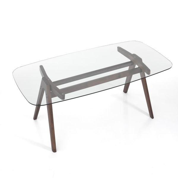 Tavolo scrivania in legno e vetro Laying