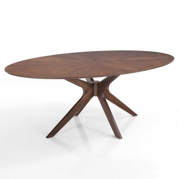 Tavolo in legno massello e MDF noce Hubbard