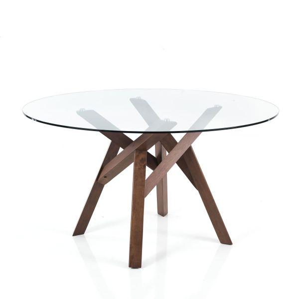 Tavolo rotondo in legno massello e vetro Meredith