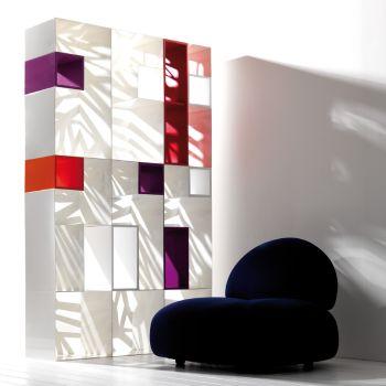 Domino libreria modulare in metallo con scaffali in legno MDF