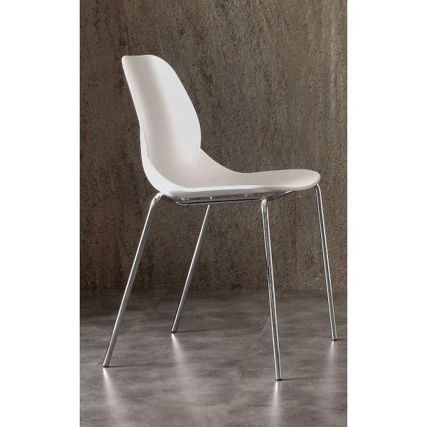 Set 5 sedie impilabili in polipropilene e metallo Tessi