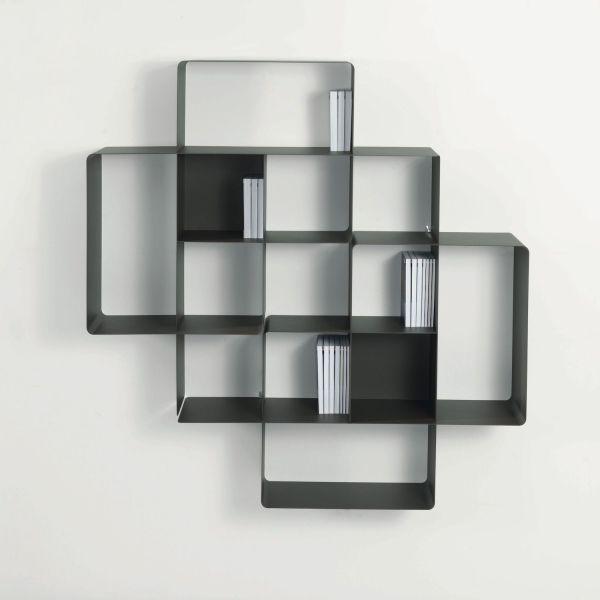 Libreria da parete design modulare in acciaio 150 x 150 cm Mondrian-2
