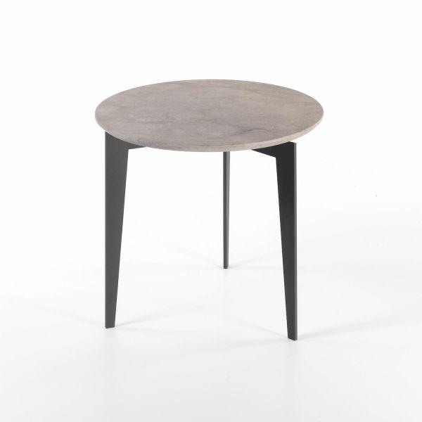 Tavolino rotondo da salotto struttura in acciaio piano in marmo Nordic M