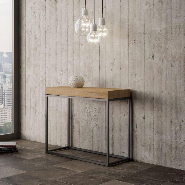 Consolle allungabile moderna in metallo e legno Matrand