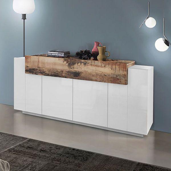 Credenza cucina design moderno in MDF bianco lucido Krisen