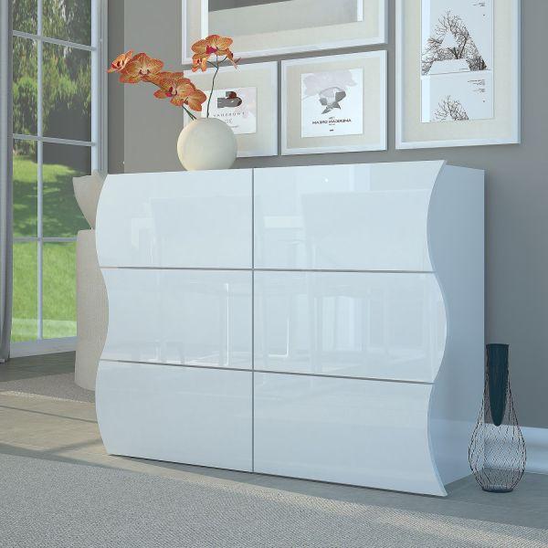 Credenza soggiorno con 6 cassetti bianco lucido Surf E